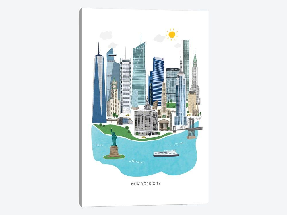 New York City Illustration by LindseyKayCo 1-piece Canvas Art Print