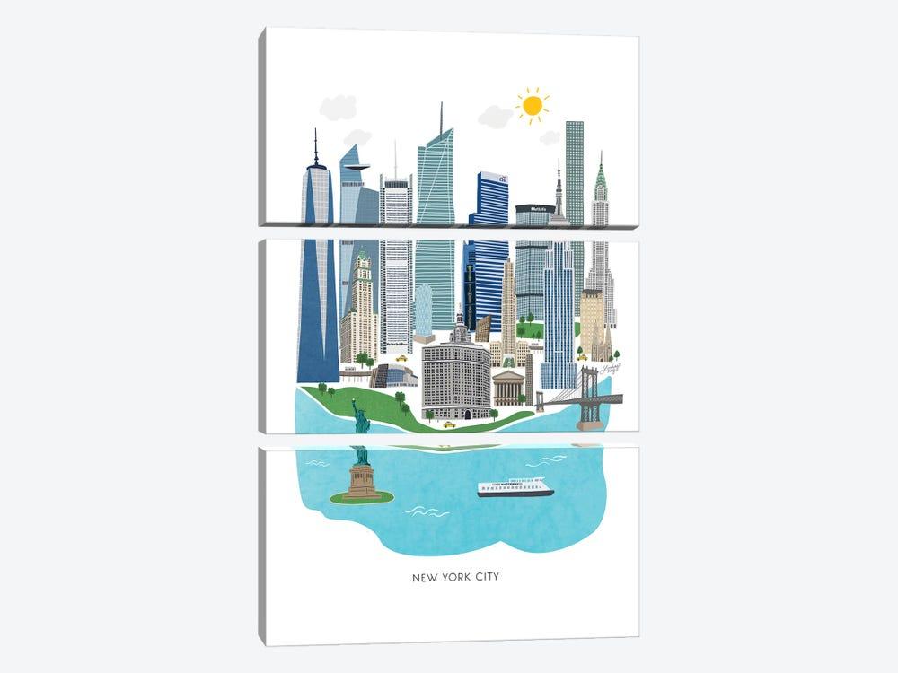 New York City Illustration by LindseyKayCo 3-piece Art Print