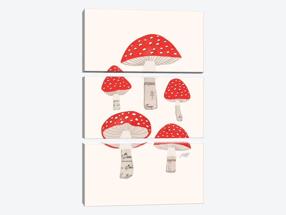 Red Mushrooms by LindseyKayCo 3-piece Canvas Wall Art