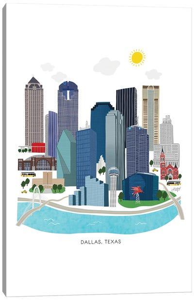 Dallas Skyline Illustration Canvas Art Print