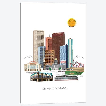 Downtown Denver Collage Illustration Canvas Print #LKC23} by LindseyKayCo Canvas Artwork