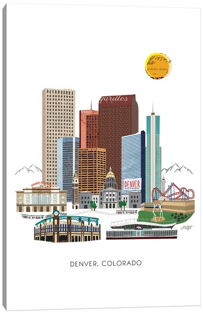 Downtown Denver Collage Illustration Canvas Art Print