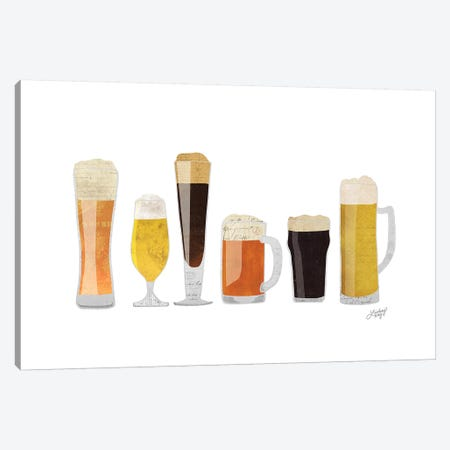 Beer Glasses Canvas Print #LKC2} by LindseyKayCo Canvas Art Print