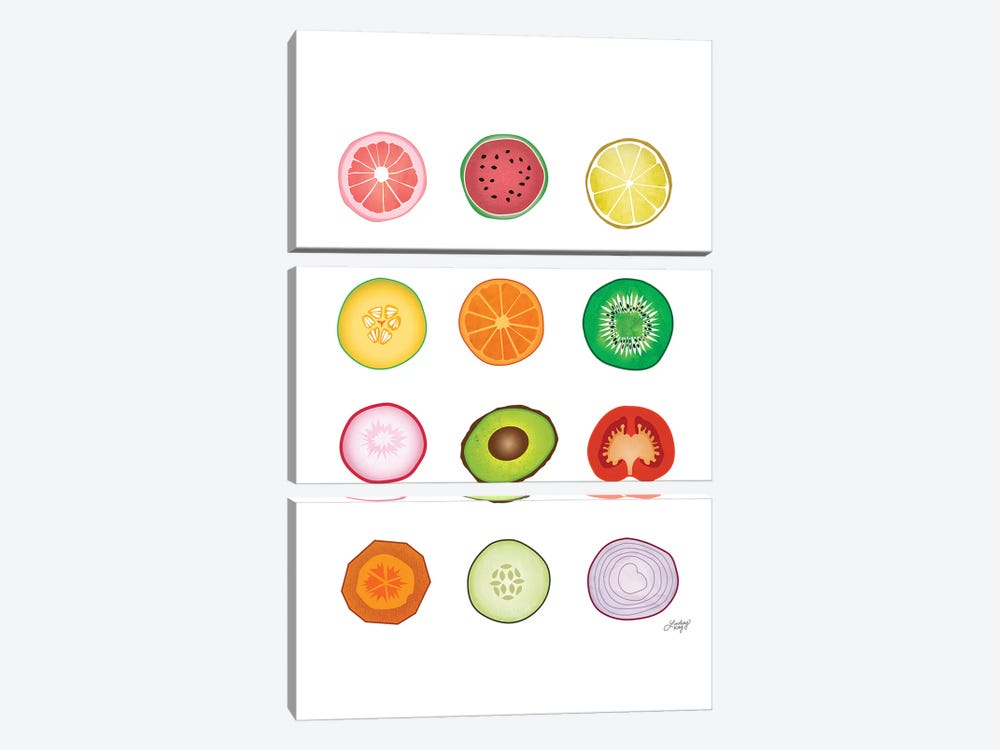 Fruits And Vegetables Collage by LindseyKayCo 3-piece Canvas Art Print