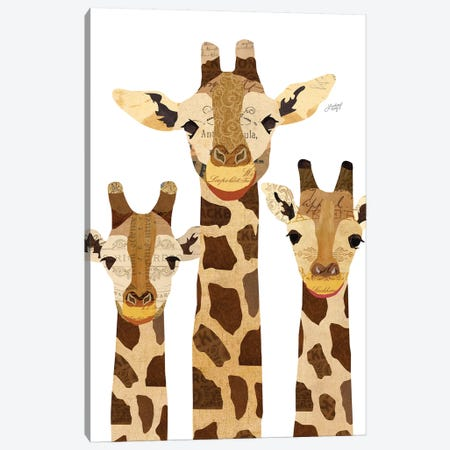 Giraffe Collage Canvas Print #LKC32} by LindseyKayCo Art Print