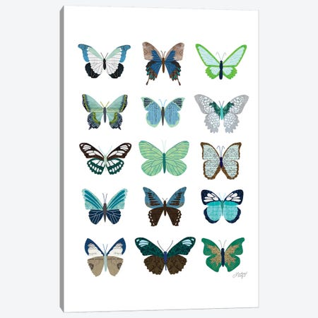 Green And Blue Butterflies Collage Canvas Print #LKC33} by LindseyKayCo Canvas Print