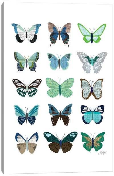 Green And Blue Butterflies Collage Canvas Art Print