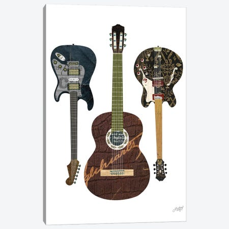 Guitar Collage Canvas Print #LKC34} by LindseyKayCo Canvas Wall Art
