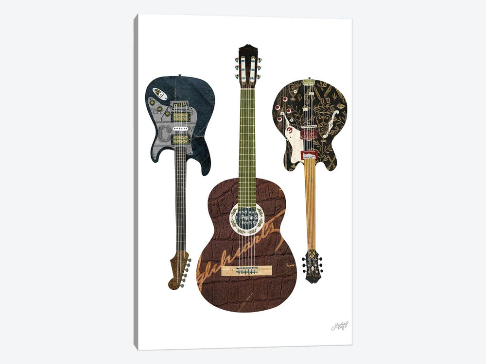 Guitar Collage by LindseyKayCo 1-piece Canvas Wall Art