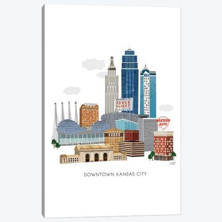 Kansas City Downtown Collage Illustration Canvas Print #LKC38} by LindseyKayCo Art Print