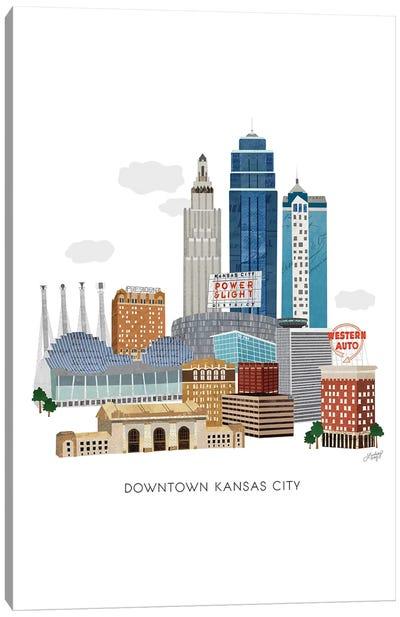 Kansas City Downtown Collage Illustration Canvas Art Print