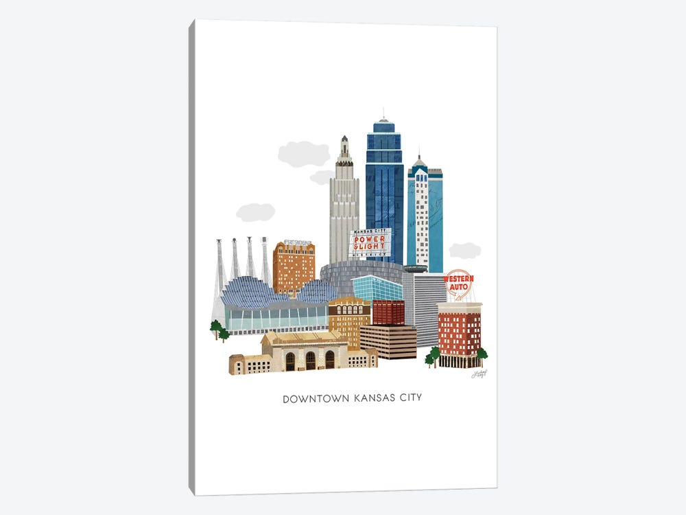 Kansas City Downtown Collage Illustration by LindseyKayCo 1-piece Canvas Wall Art