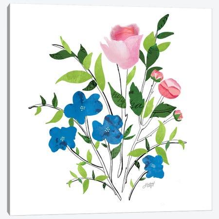 Botanical Flowers Collage Illustration Canvas Print #LKC3} by LindseyKayCo Art Print