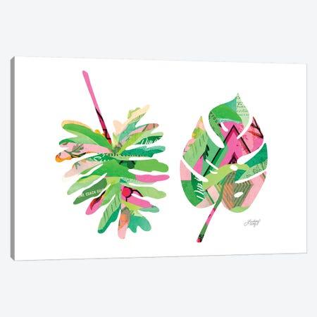 Botanical Leaves Pink Canvas Print #LKC4} by LindseyKayCo Canvas Art