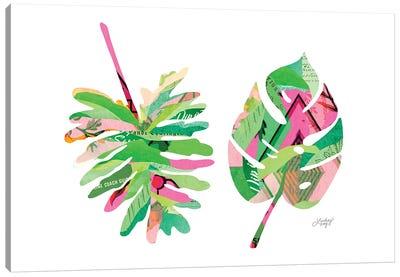 Botanical Leaves Pink Canvas Art Print