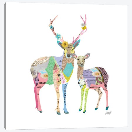Pastel Colorful Deer 3-Piece Canvas #LKC52} by LindseyKayCo Canvas Print