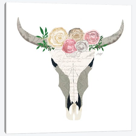 Pastel Floral Cow Skull Collage Canvas Print #LKC53} by LindseyKayCo Canvas Print
