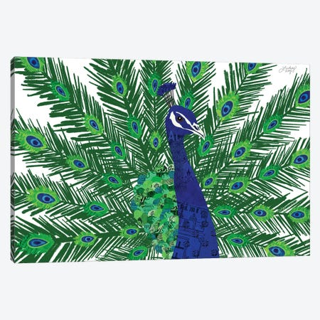 Peacock Collage Canvas Print #LKC55} by LindseyKayCo Canvas Artwork