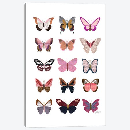 Pink Butterflies Collage Canvas Print #LKC56} by LindseyKayCo Canvas Wall Art