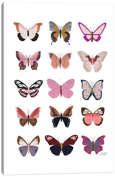 Pink Butterflies Collage Canvas Art Print