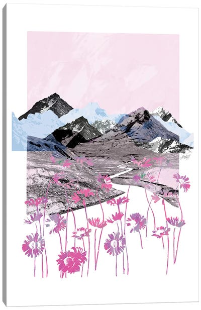 Pink Daisy Mountain Abstract Collage Canvas Art Print