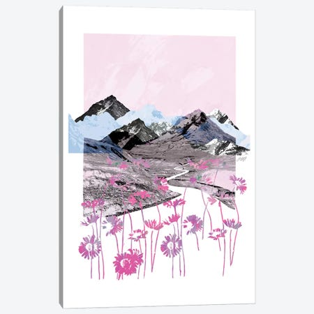 Pink Daisy Mountain Abstract Collage Canvas Print #LKC57} by LindseyKayCo Canvas Wall Art