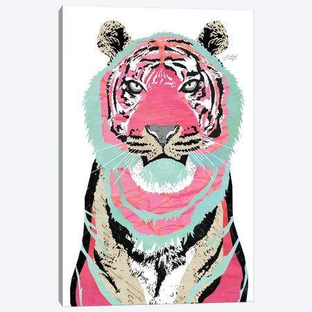 Pink Tiger Collage Canvas Print #LKC58} by LindseyKayCo Art Print
