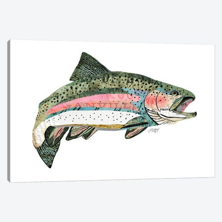 Rainbow Trout Collage Canvas Print #LKC66} by LindseyKayCo Canvas Art Print