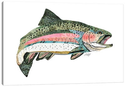 Rainbow Trout Collage Canvas Art Print