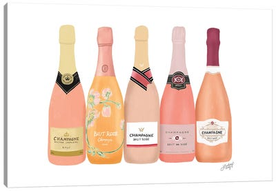 Rose Champagne Bottles Canvas Art Print