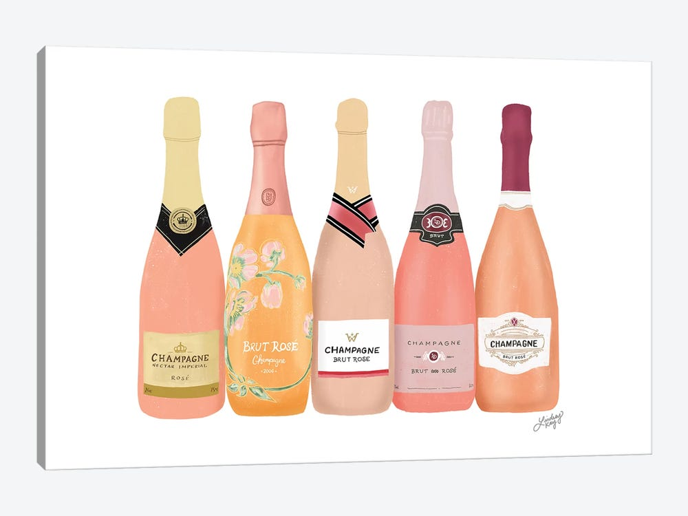 Rose Champagne Bottles by LindseyKayCo 1-piece Canvas Art