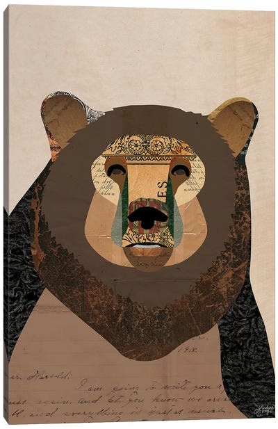 Brown Bear Collage Canvas Art Print