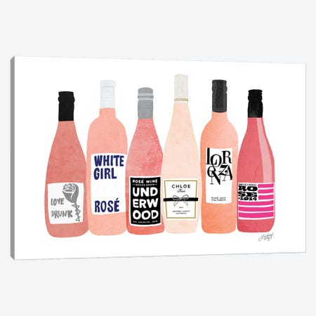 Rose Wine Bottles Canvas Print #LKC70} by LindseyKayCo Canvas Art Print