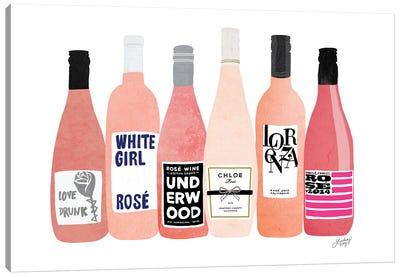 Rose Wine Bottles Canvas Art Print