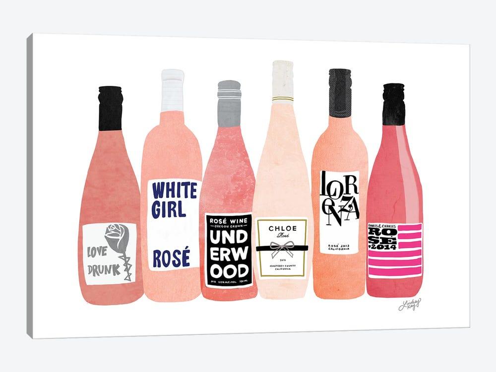 Rose Wine Bottles by LindseyKayCo 1-piece Canvas Art