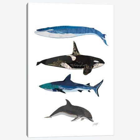 Sharks And Whales Collage Canvas Print #LKC72} by LindseyKayCo Art Print