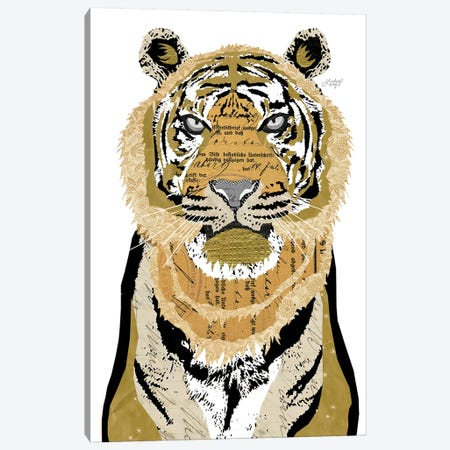 Tiger Collage Canvas Print #LKC79} by LindseyKayCo Art Print