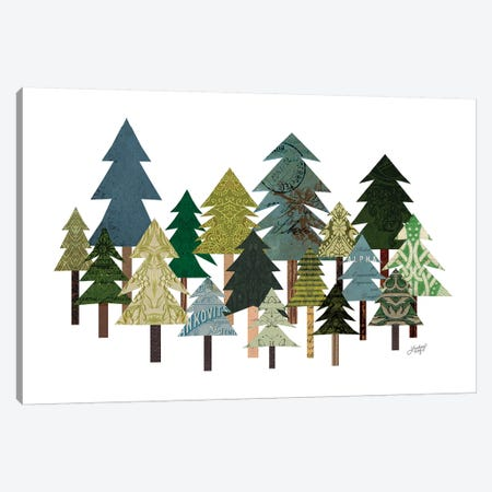 Trees Collage Canvas Print #LKC80} by LindseyKayCo Canvas Wall Art