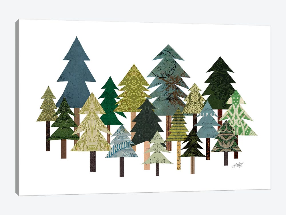 Trees Collage by LindseyKayCo 1-piece Canvas Art Print