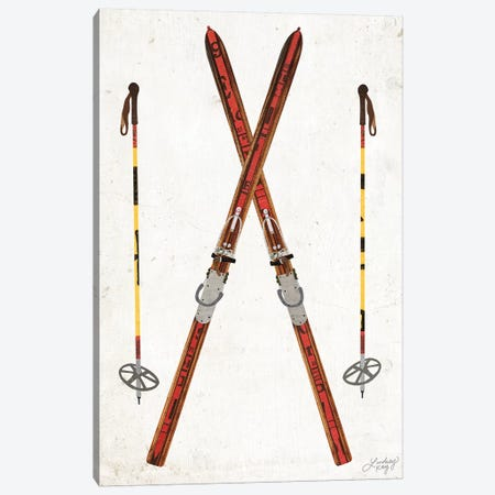 Vintage Skis And Poles Collage Canvas Print #LKC83} by LindseyKayCo Canvas Wall Art