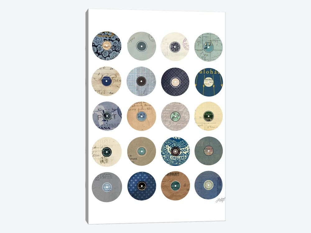 Vinyl Record Collage by LindseyKayCo 1-piece Canvas Print