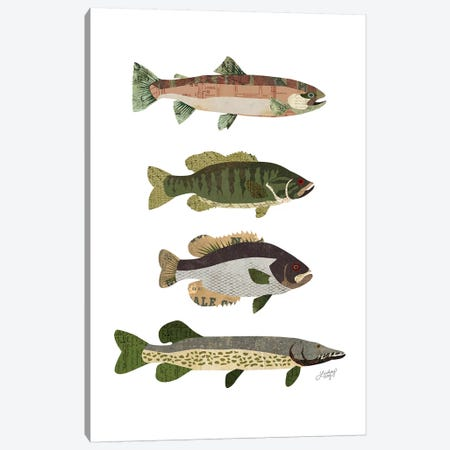 Woodland Fish Collage Canvas Print #LKC89} by LindseyKayCo Canvas Artwork
