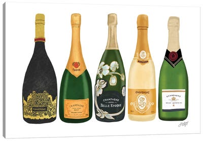 Champagne Bottles Canvas Art Print