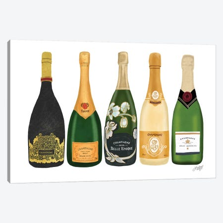 Champagne Bottles Canvas Print #LKC9} by LindseyKayCo Canvas Art Print