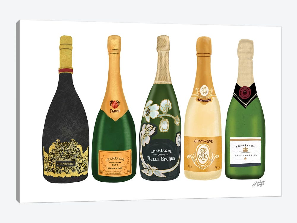 Champagne Bottles by LindseyKayCo 1-piece Canvas Art Print