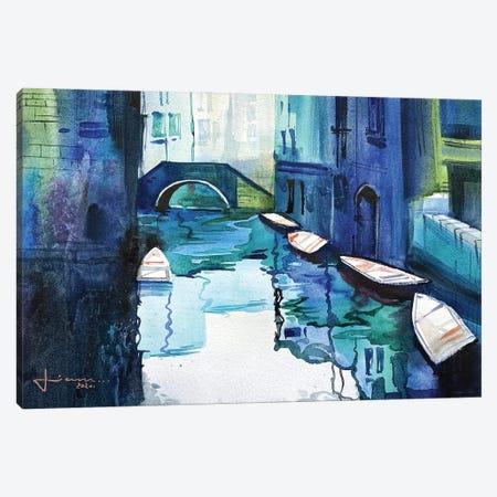 Blue Venice Canvas Print #LKM19} by Liam Kumawat Canvas Art Print