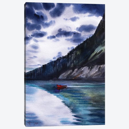 Red Boat Canvas Print #LKM23} by Liam Kumawat Canvas Art