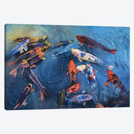 Koi Frenzy Canvas Print #LKM25} by Liam Kumawat Art Print