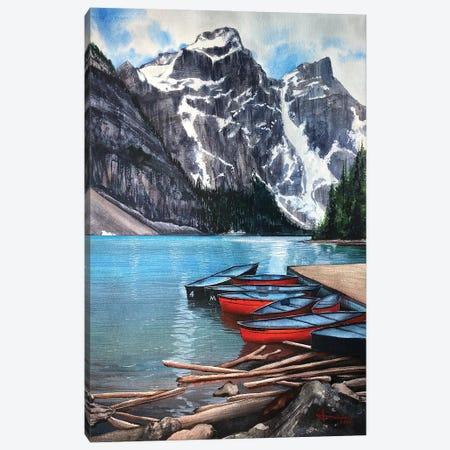 Red Canoe Canvas Print #LKM28} by Liam Kumawat Canvas Wall Art