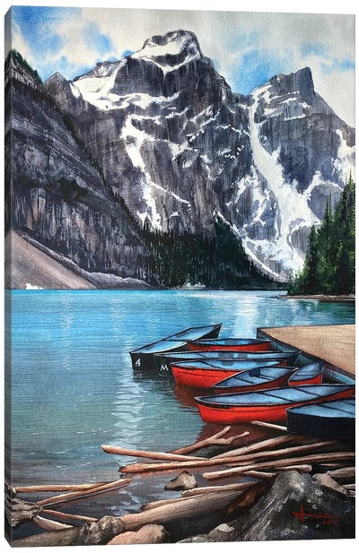 Red Canoe Canvas Art Print